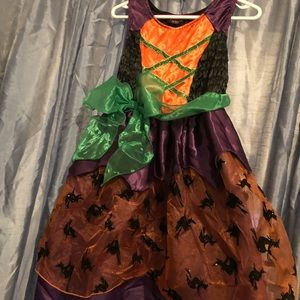 Witch, purple and orange dress